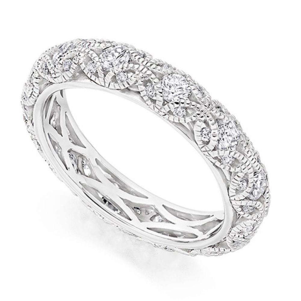 Rococo 1 carat diamond encrusted full eternity ring in Platinum