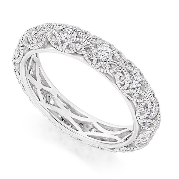 Rococo 1 Carat Diamond Encrusted Eternity Ring Main Image