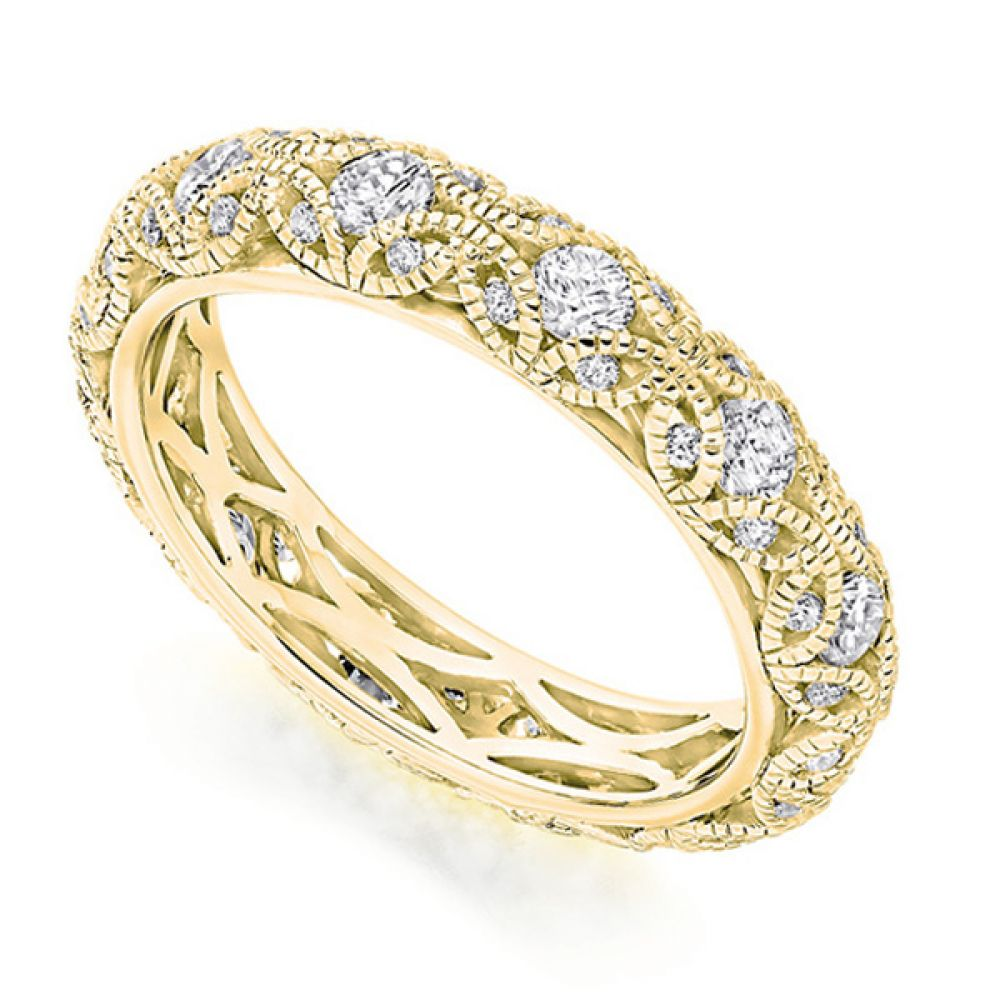 Rococo 1 carat diamond encrusted full eternity ring in Yellow Gold