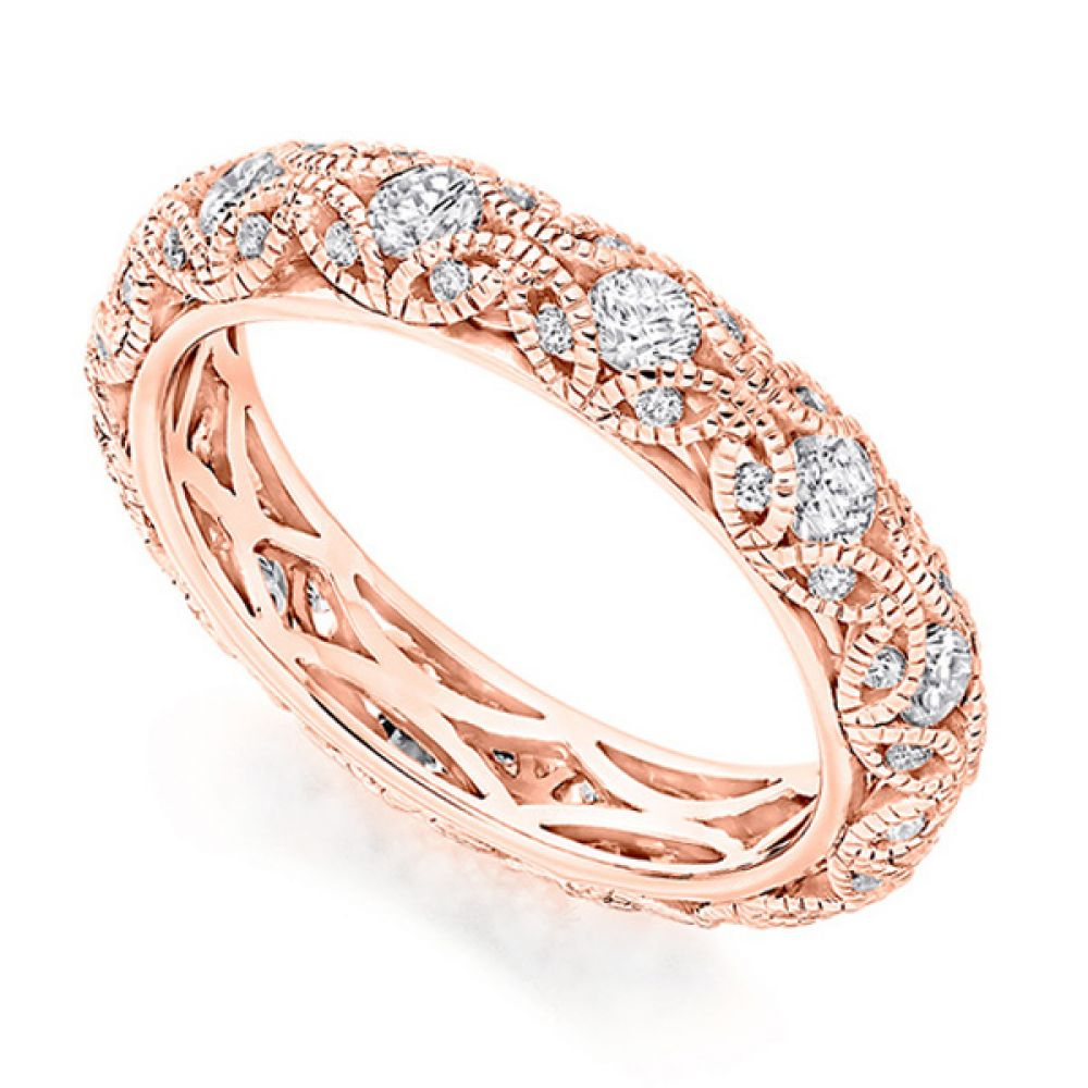 Rococo 1 carat diamond encrusted full eternity ring in Rose Gold