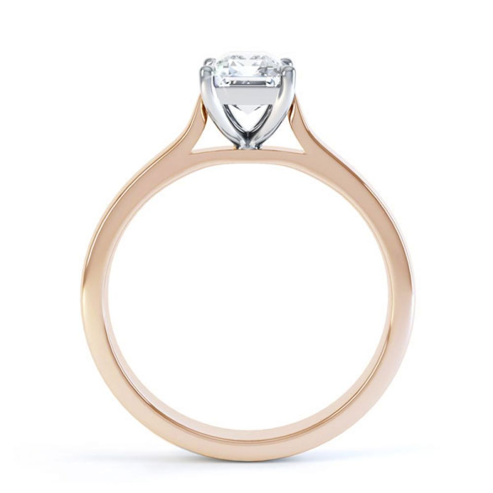 Simple 4 Claw Emerald Diamond Solitaire Ring Side View In Rose Gold