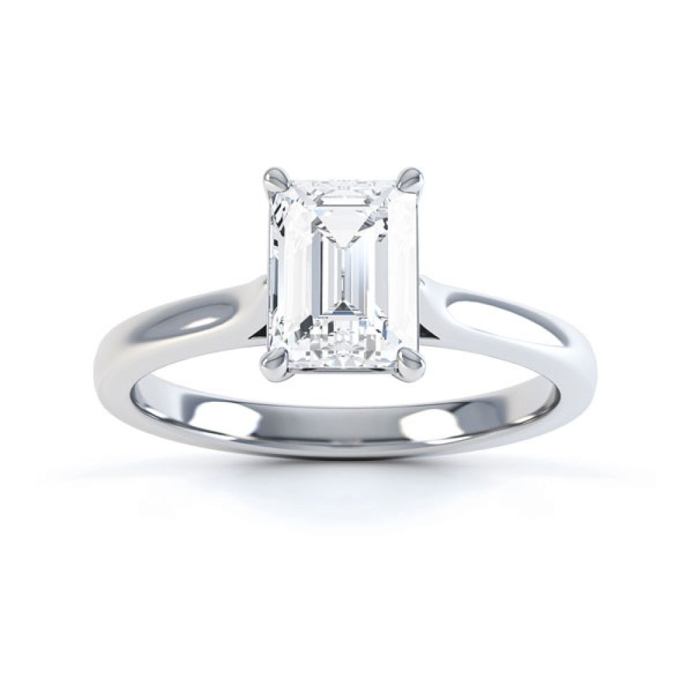 Simple 4 Claw Emerald Diamond Solitaire Ring Top View