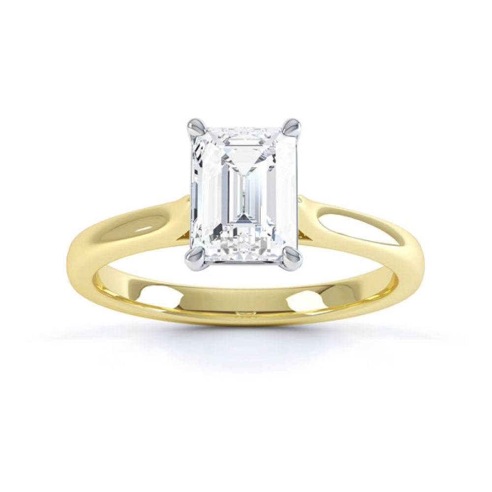 Simple 4 Claw Emerald Diamond Solitaire Ring Top View Yellow Gold
