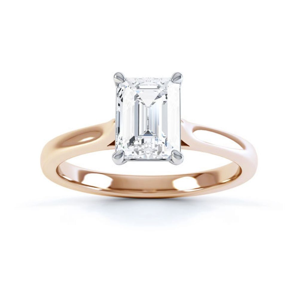 Simple 4 Claw Emerald Diamond Solitaire Ring Top View Rose Gold
