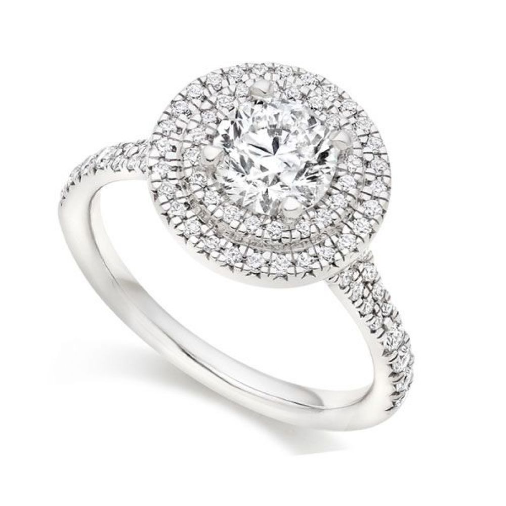 GR006 Round Double Halo Engagement Ring