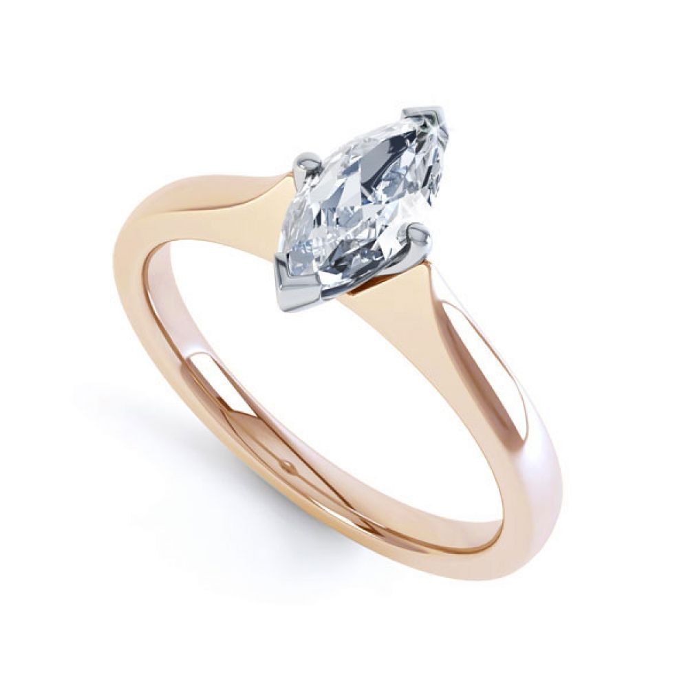 Marquise 4 Claw Diamond Solitaire Engagement Ring In Rose Gold