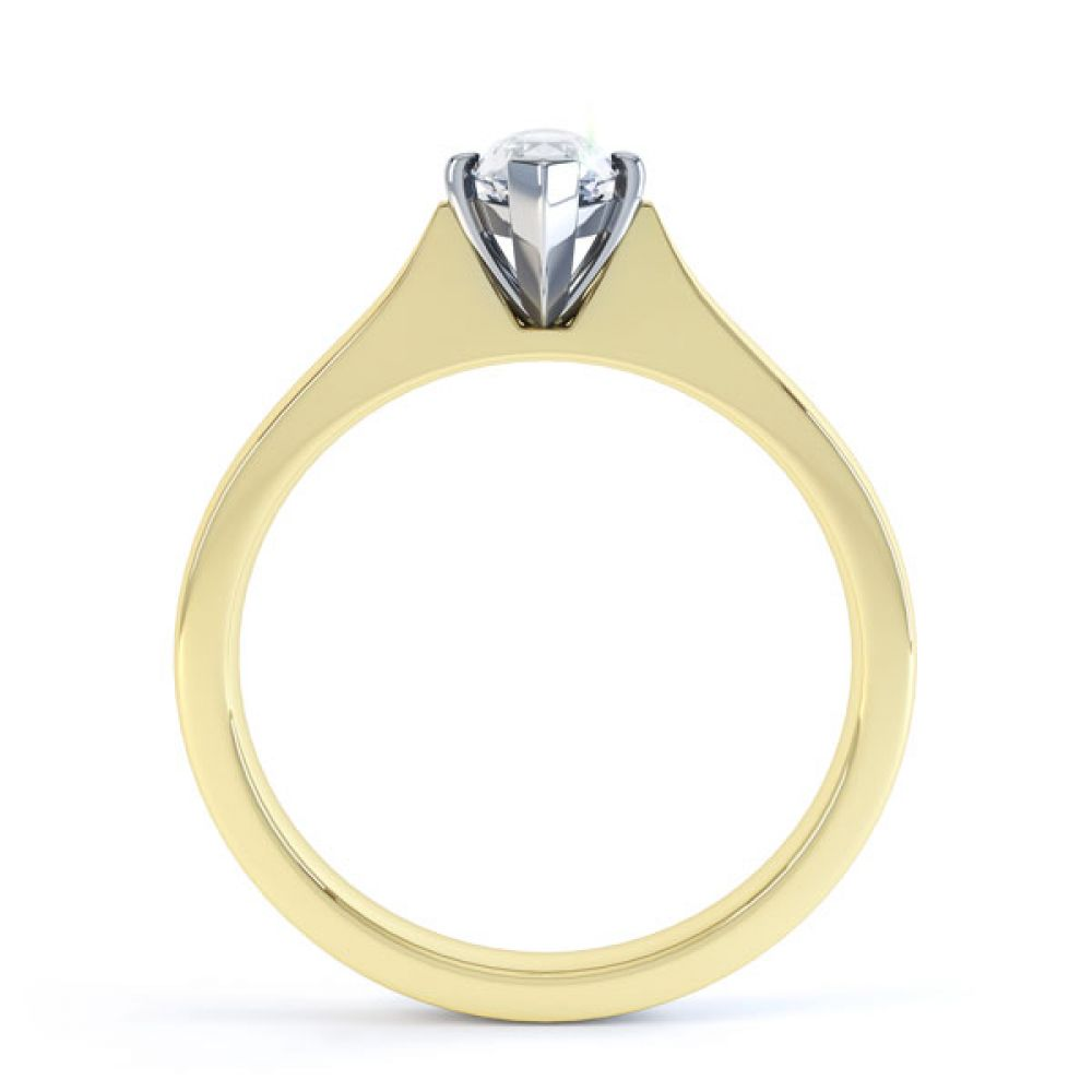 Marquise 4 Claw Diamond Solitaire Engagement Ring Side View In Yellow Gold