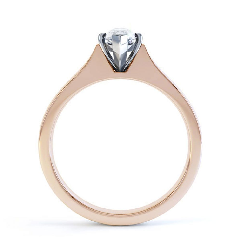 Marquise 4 Claw Diamond Solitaire Engagement Ring Side View In Rose Gold