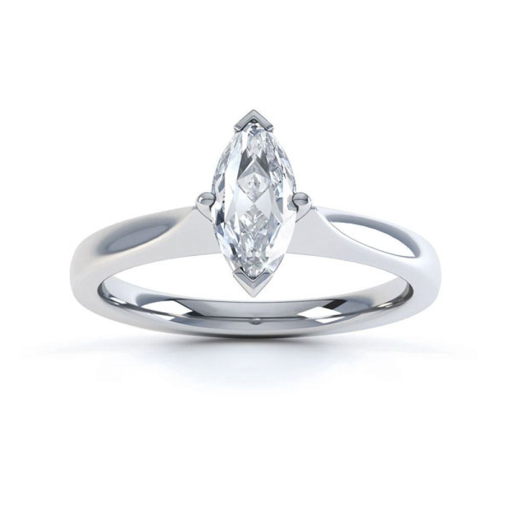 Marquise 4 Claw Diamond Solitaire Engagement Ring Top View
