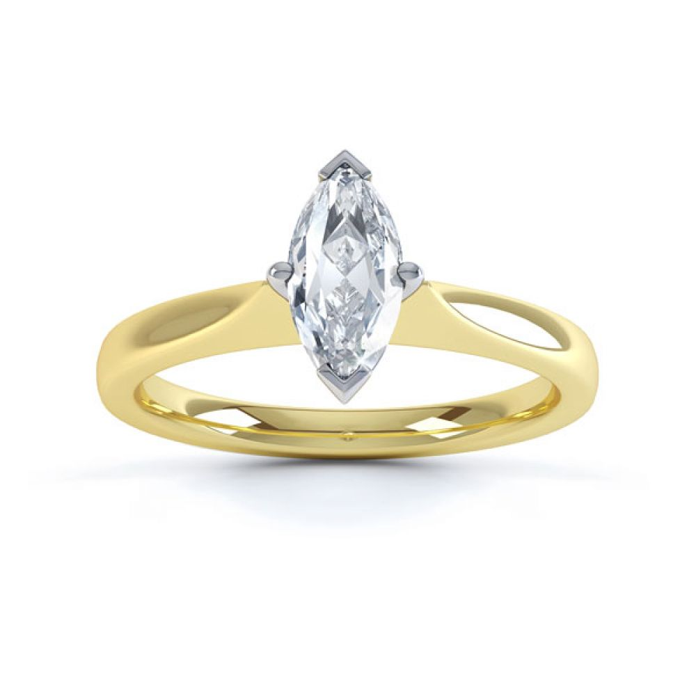 Marquise 4 Claw Diamond Solitaire Engagement Ring Top View In Yellow Gold