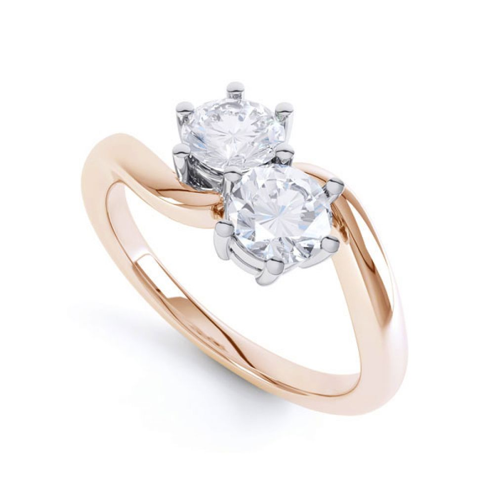 2 Stone Round Diamond Engagement Ring 6 Claw Setting In Rose Gold