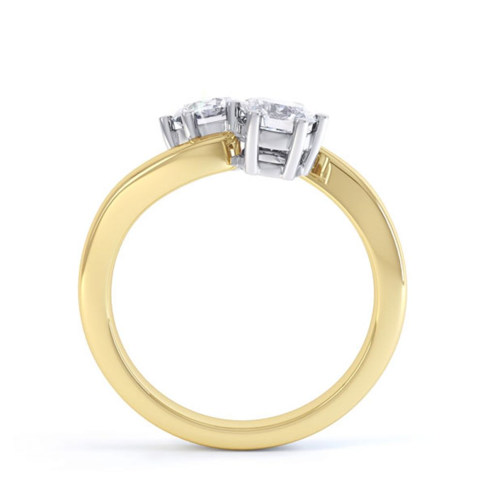 2 Stone Round Diamond Engagement Ring 6 Claw Setting Side View In Yellow Gold