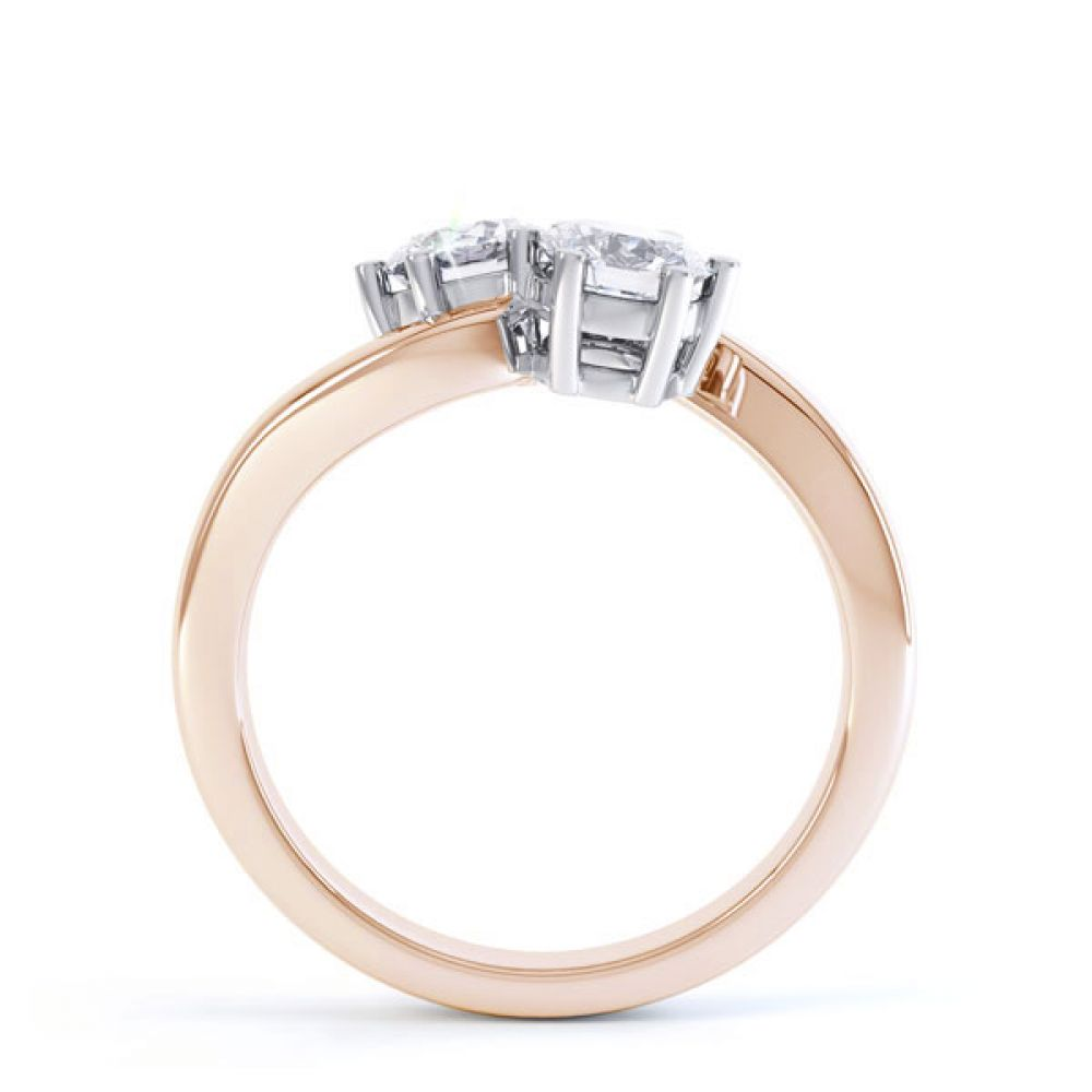 2 Stone Round Diamond Engagement Ring 6 Claw Setting Side View In Rose Gold