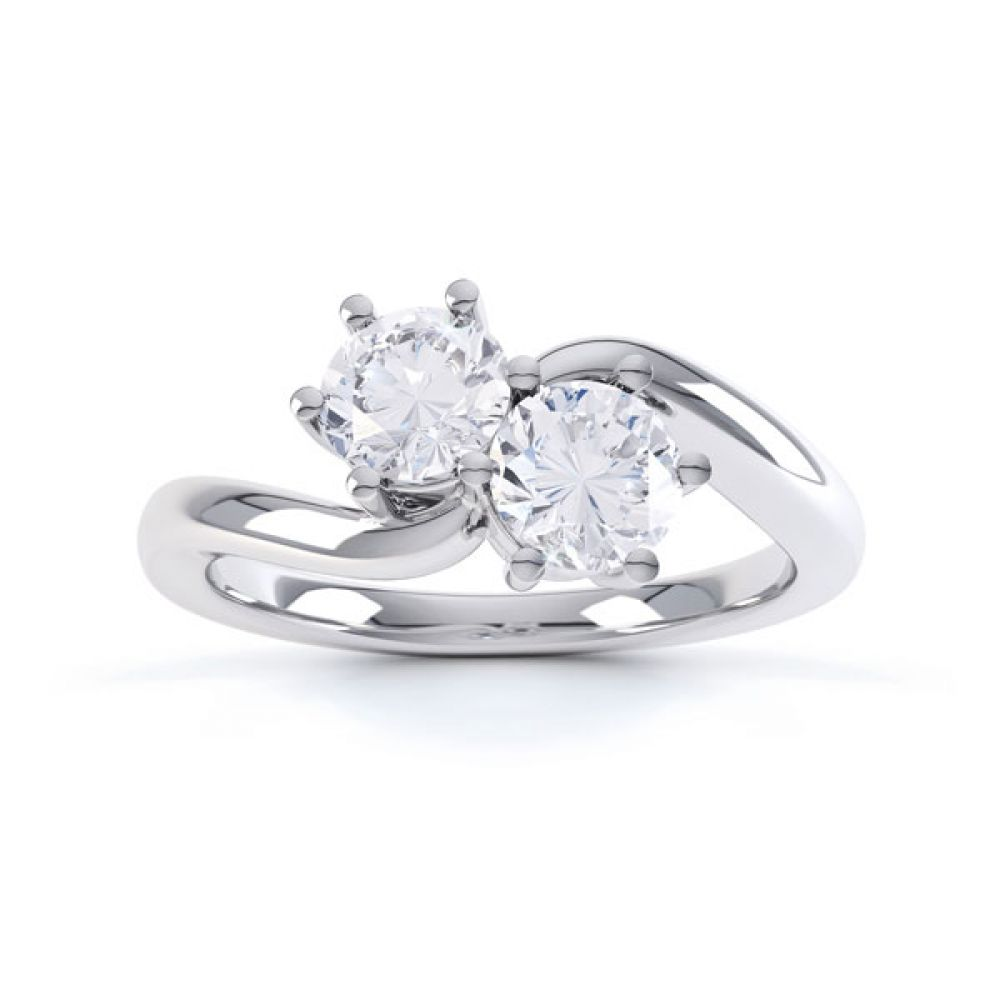 2 Stone Round Diamond Engagement Ring 6 Claw Setting Top View