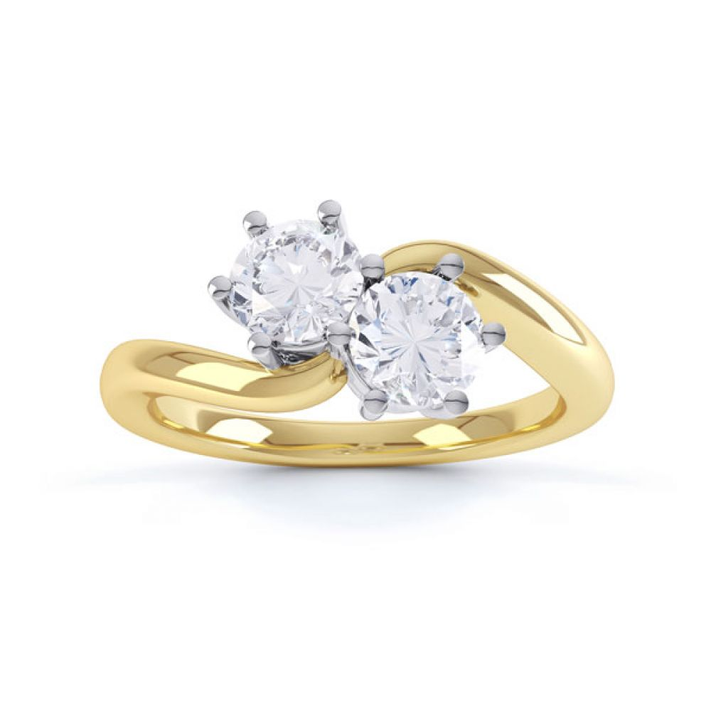 2 Stone Round Diamond Engagement Ring 6 Claw Setting Top View In Yellow Gold