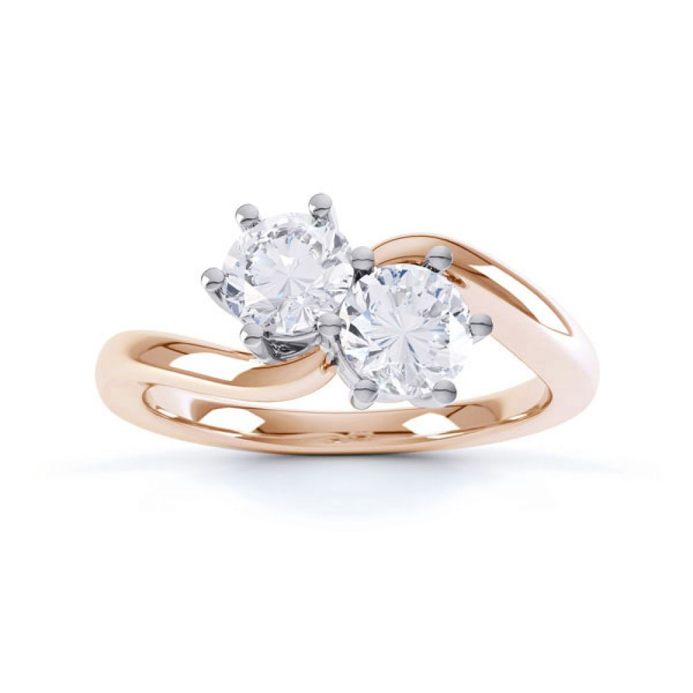 2 Stone Round Diamond Engagement Ring 6 Claw Setting Top View In Rose Gold