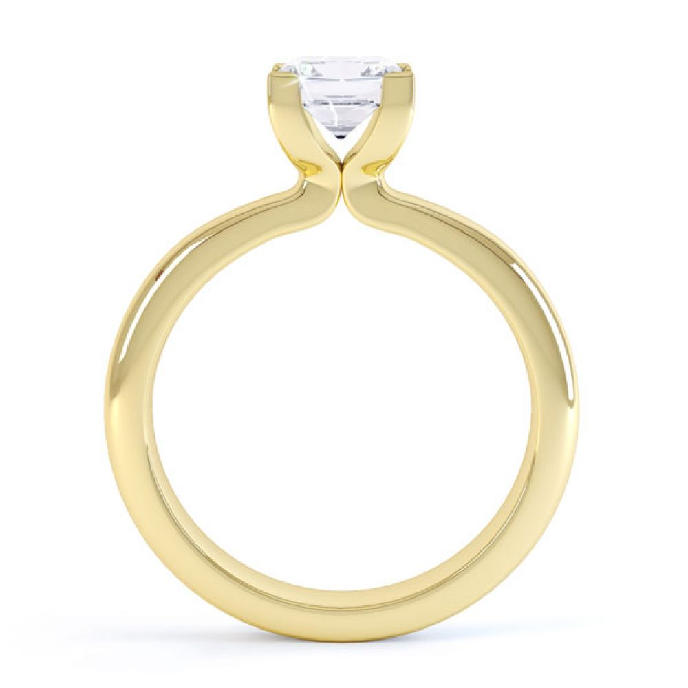 Square Diamond Ring with Box 4 Claw Setting Side View In Yellow Gold