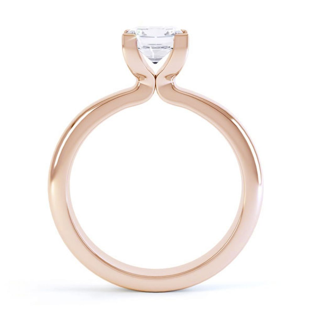 Square Diamond Ring with Box 4 Claw Setting Side View In Rose Gold