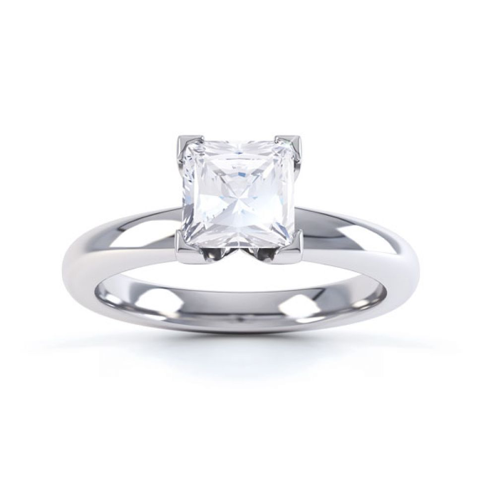 Square Diamond Ring with Box 4 Claw Setting Top View White Gold