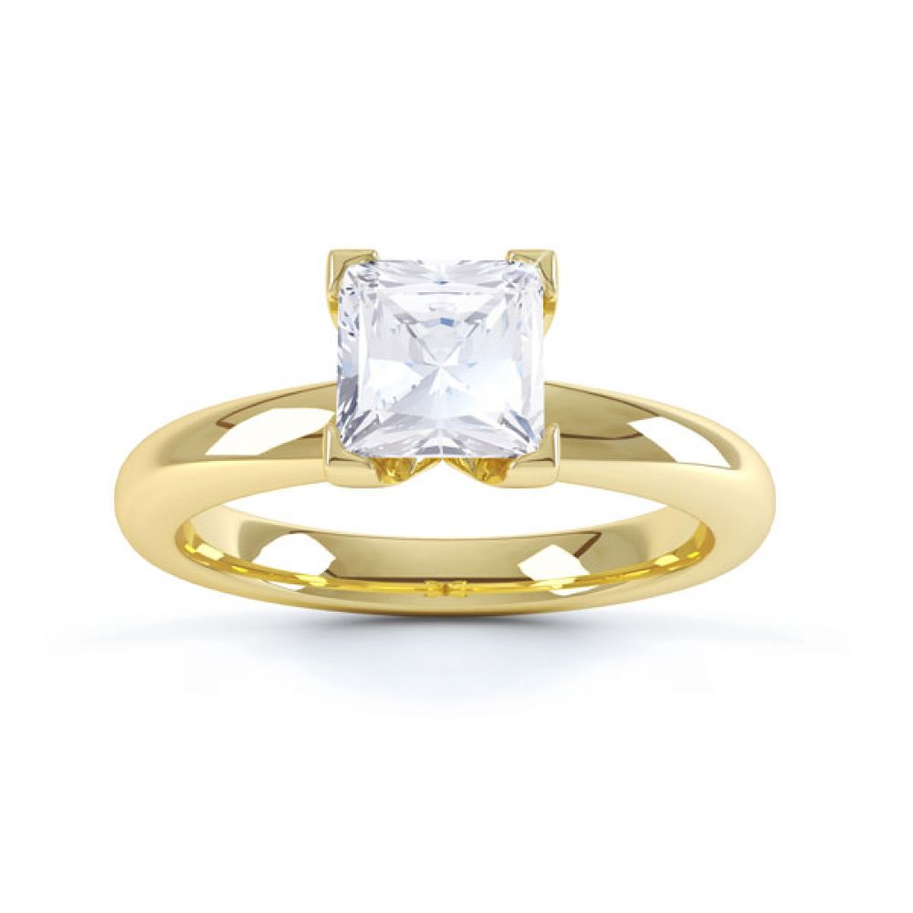 Square Diamond Ring with Box 4 Claw Setting Top View Yellow Gold