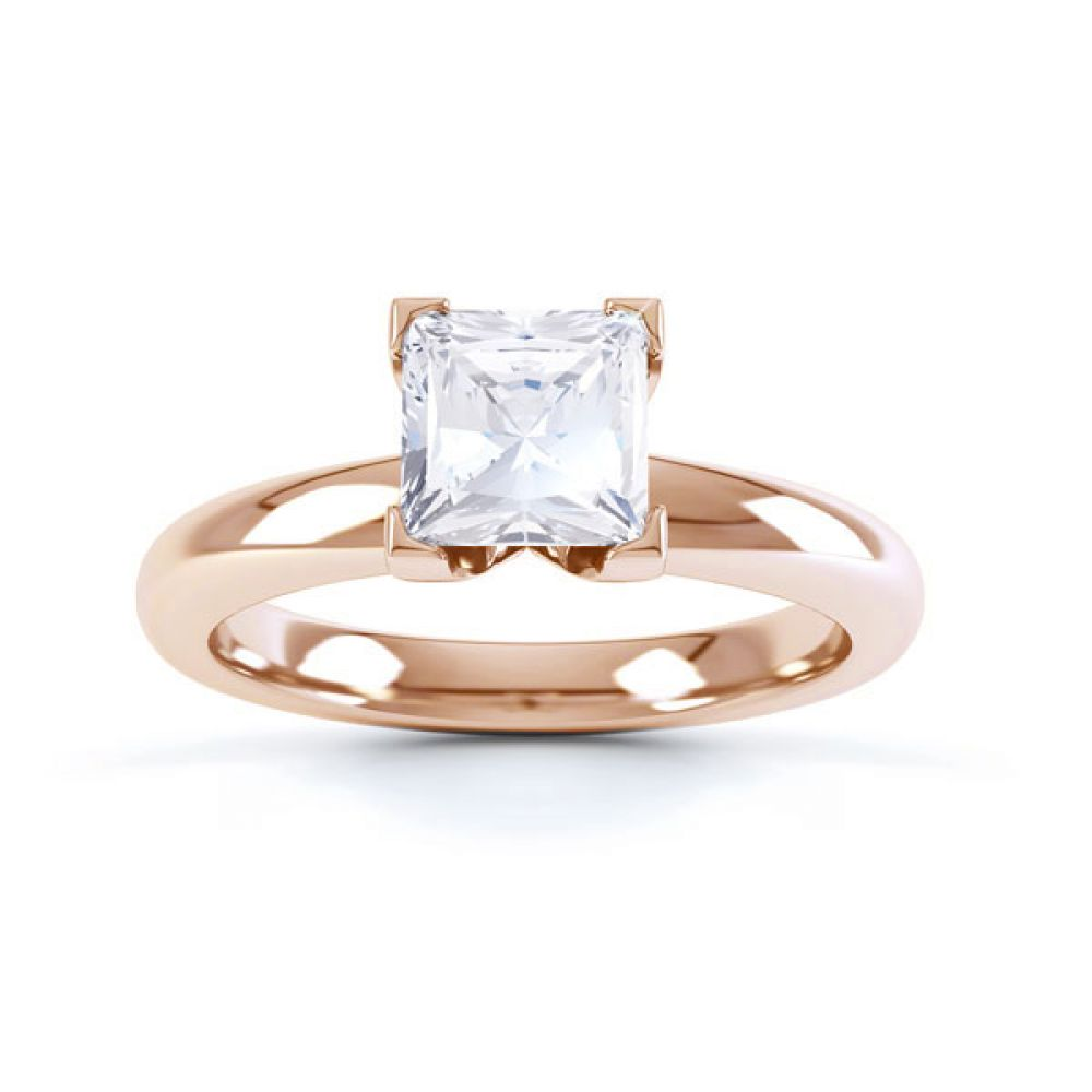 Square Diamond Ring with Box 4 Claw Setting Top View Rose Gold