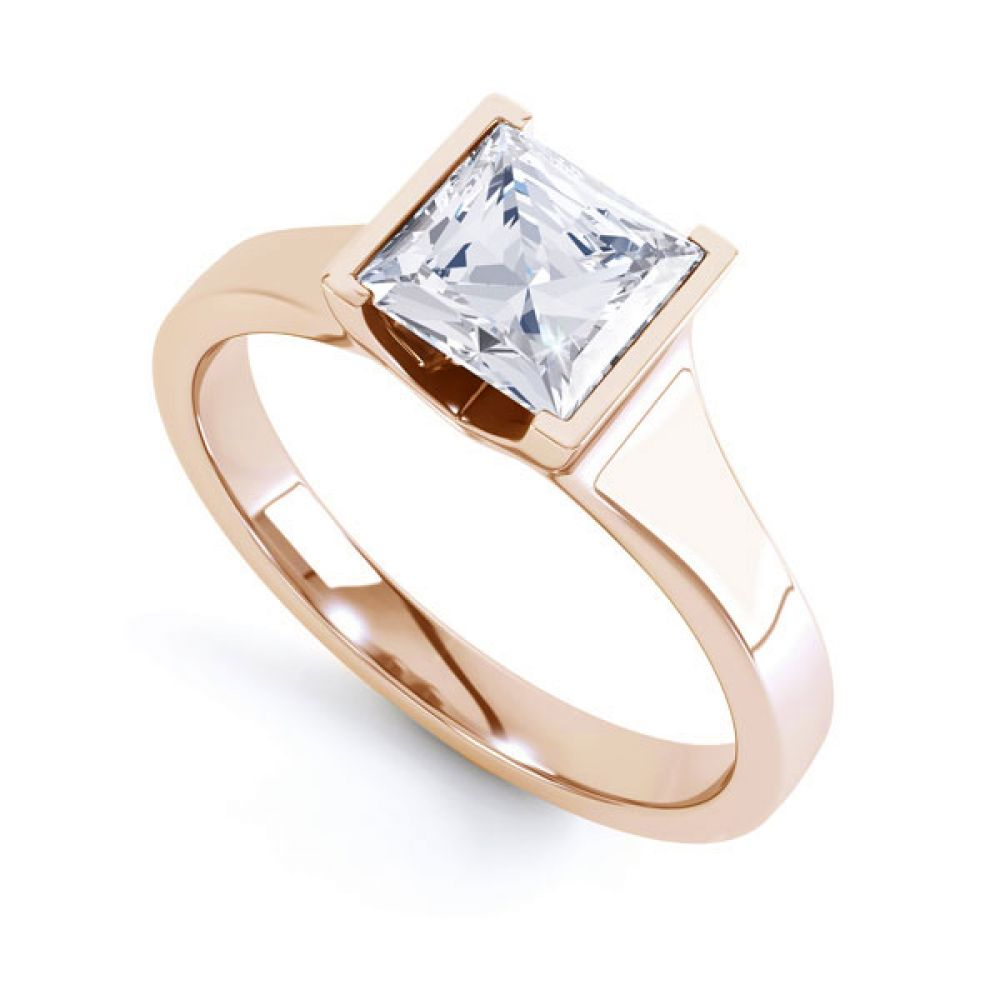 Squared Part Bezel Princess Diamond Solitaire Ring Rose Gold