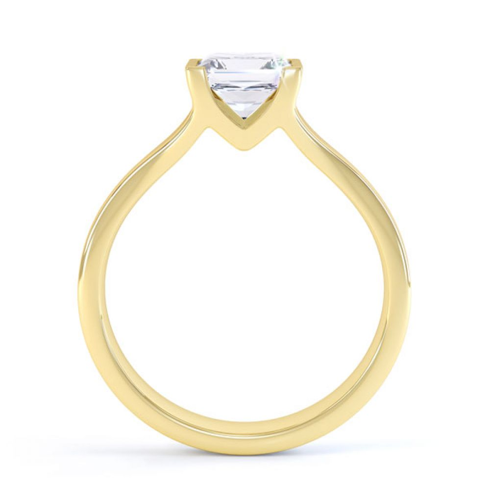 Squared Part Bezel Princess Diamond Solitaire Ring Side View Yellow Gold