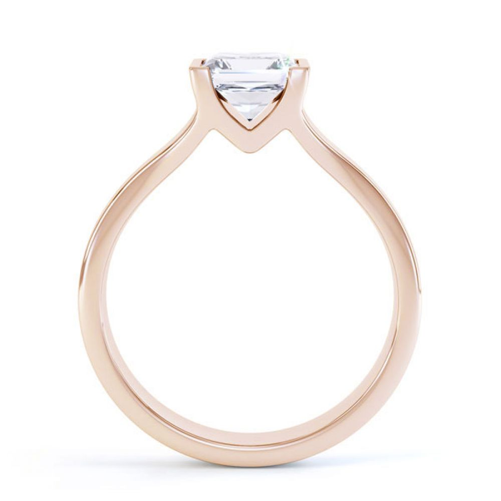 Squared Part Bezel Princess Diamond Solitaire Ring Side View Rose Gold