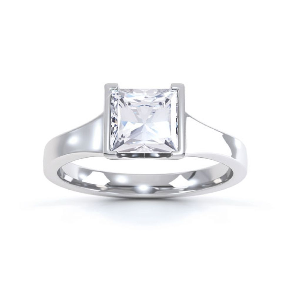 Squared Part Bezel Princess Diamond Solitaire Ring Top View