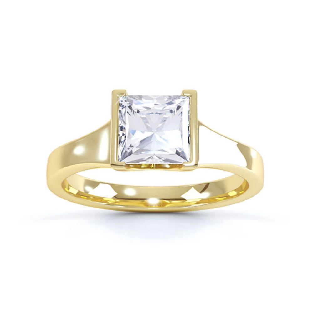 Squared Part Bezel Princess Diamond Solitaire Ring Top View Yellow Gold