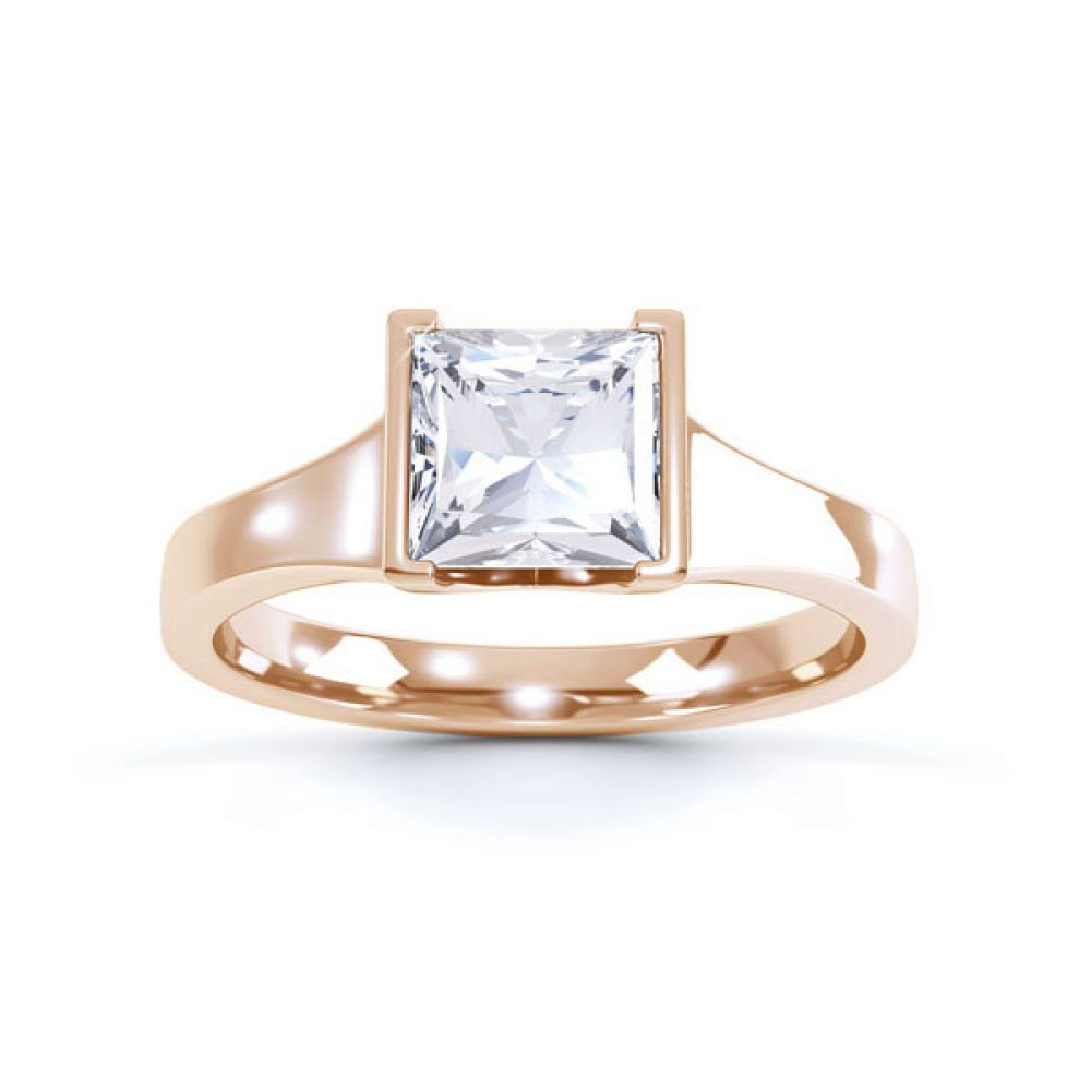 Squared Part Bezel Princess Diamond Solitaire Ring Top View Rose Gold