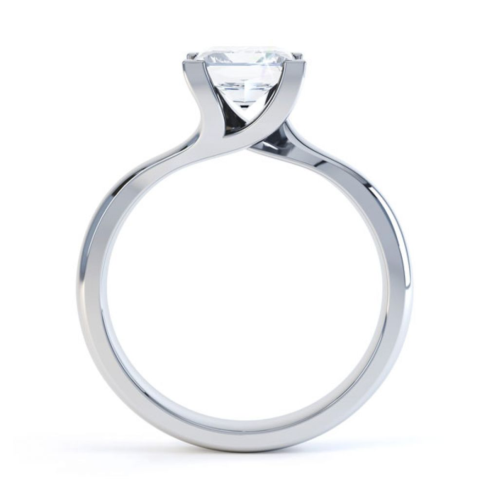 Square Princess 4 Claw Twist Engagement Ring Side View