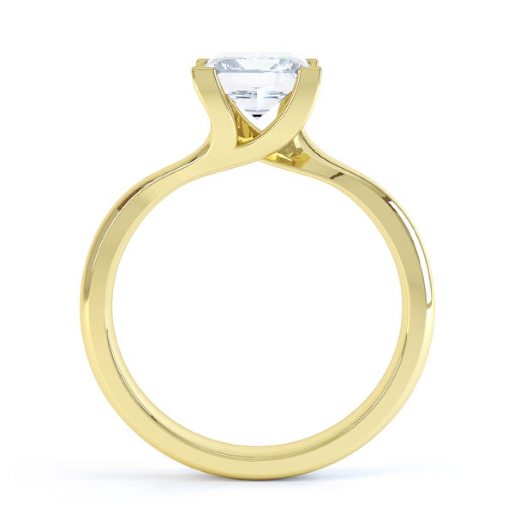 Square Princess 4 Claw Twist Engagement Ring Side View In Yellow Gold