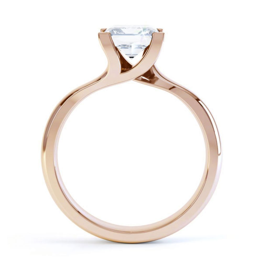 Square Princess 4 Claw Twist Engagement Ring Side View In Rose Gold