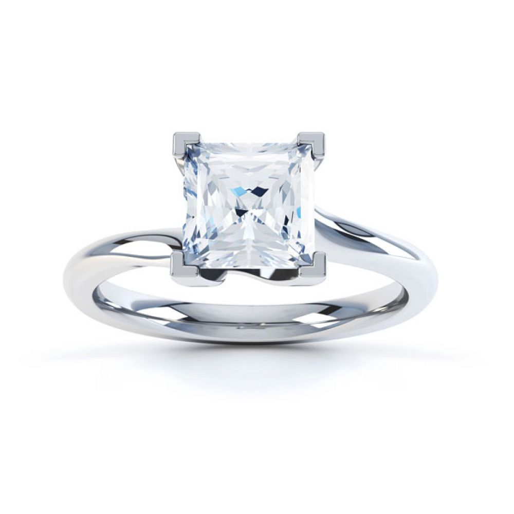 Square Princess 4 Claw Twist Engagement Ring Side Top View