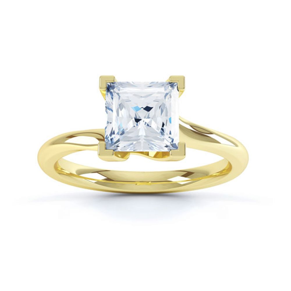 Square Princess 4 Claw Twist Engagement Ring Side Top View In Yellow Gold