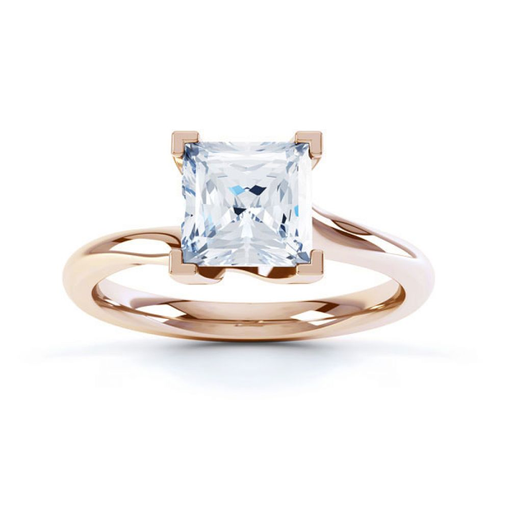 Square Princess 4 Claw Twist Engagement Ring Side Top View In Rose Gold