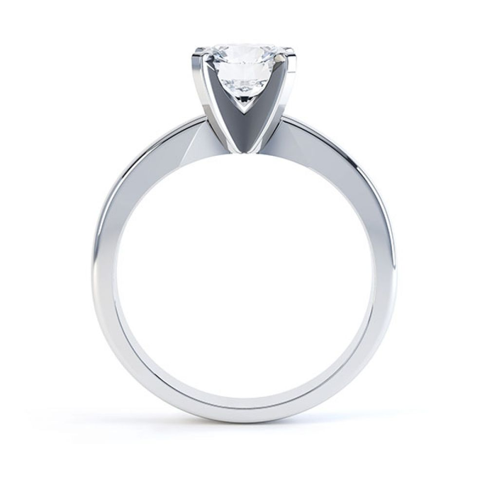 Modern 4 claw solitaire White gold - Side