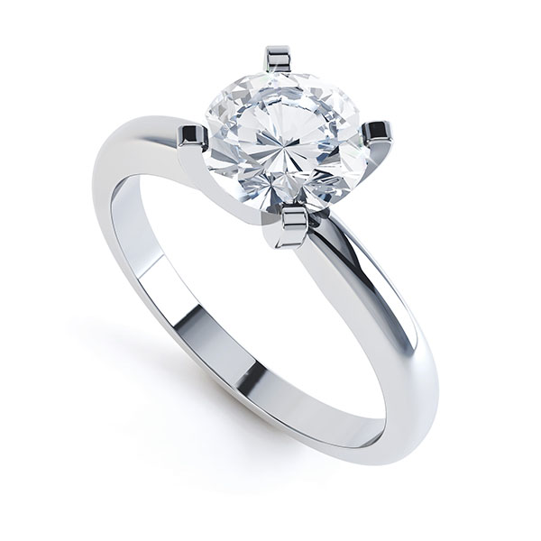 4 Claw Round Diamond Solitaire Engagement Ring