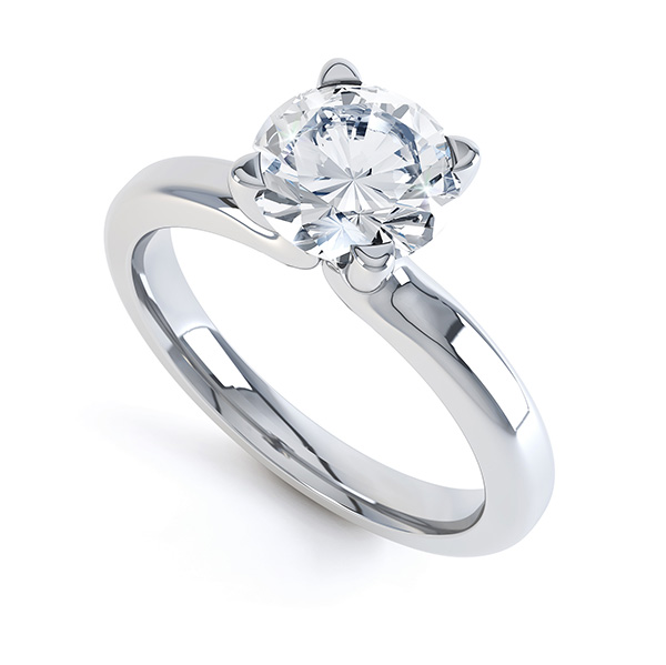 Graceful Swan Styled Four Claw Solitaire Engagement Ring