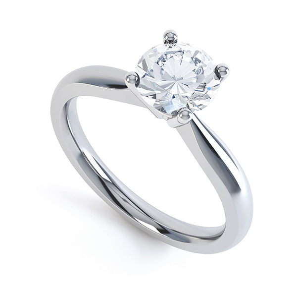 Perfect Four Claw Round Solitaire Engagement Ring