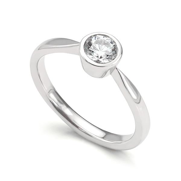 Bezel Set Round Diamond Solitaire Engagement Ring
