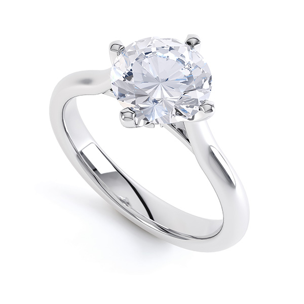 R1D022 Low Compass Set 4 Claw Round Solitaire Engagement Ring Naomi in Platinum