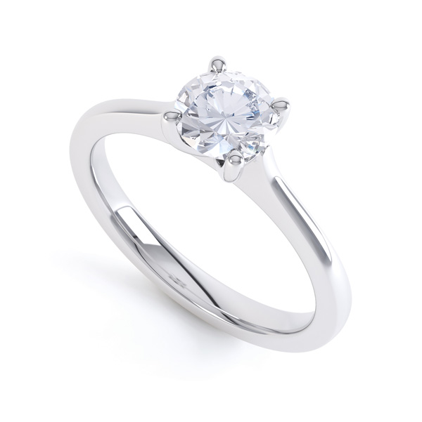 Rhona, R1D049 four claw solitaire engagement ring in 18ct white gold. Perspective view