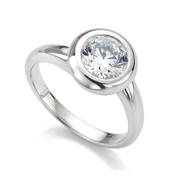Domed Bezel Round Solitaire Twist Engagement Ring