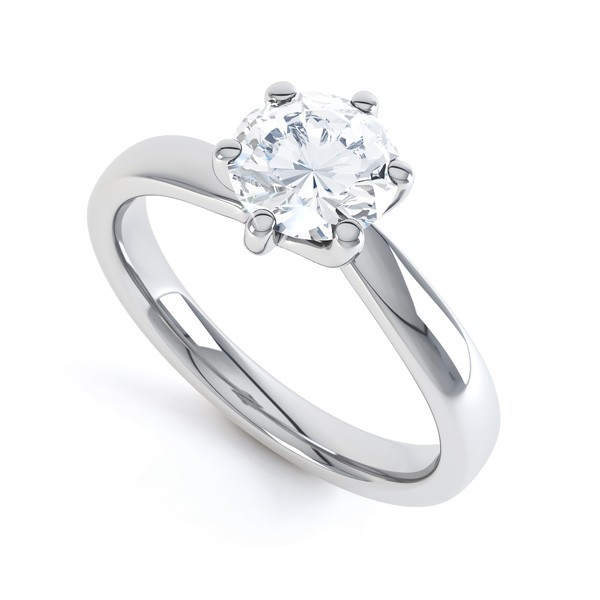 Swirl 6 Claw Twist Engagement Ring