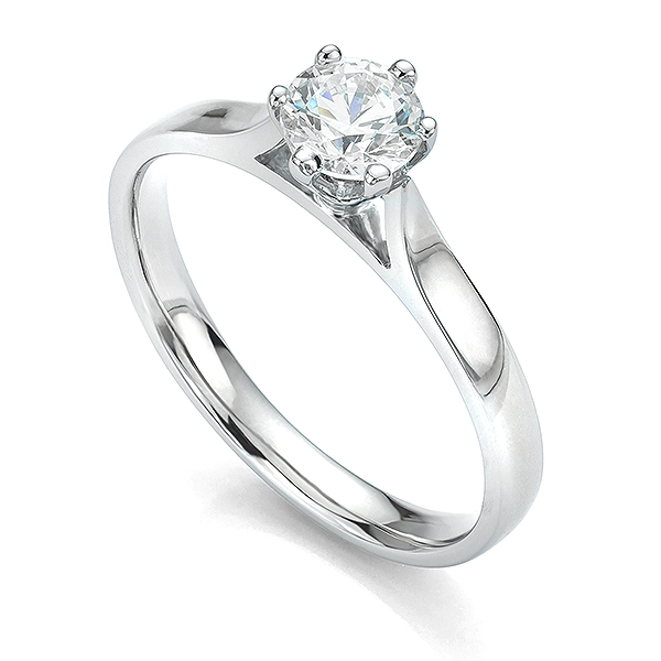 Rex 6 Claw Setting Round Diamond Engagement Ring