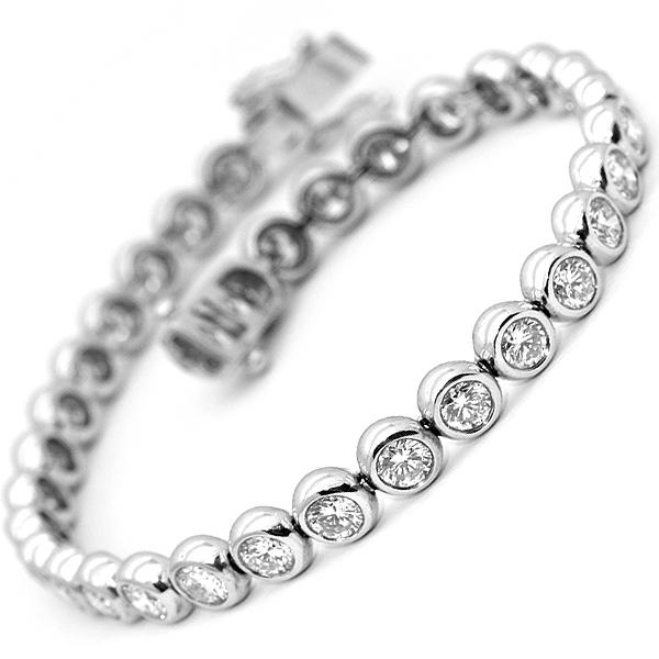 Bezel Rub Over Diamond Tennis Bracelet