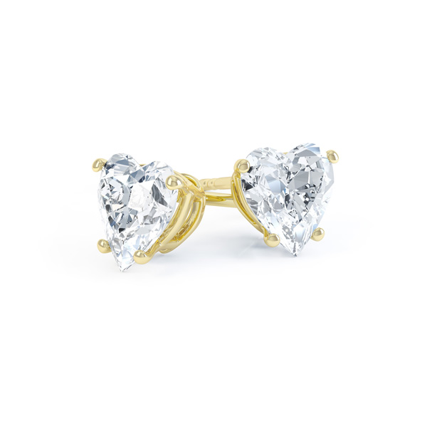 4 Claw Heart Shaped Diamond Solitaire Earrings In Yellow Gold