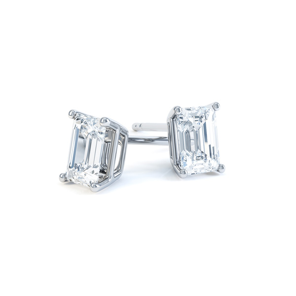 4 Claw Emerald Cut Diamond Stud Earrings